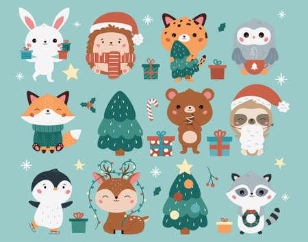 Christmas set with cute kawaii animals - fox, bunny, leopard, hedgehog, owl, raccoon, deer, penguin, bear and sloth. Cartoon characters. Happy New Year. Vector illustration. Illustration