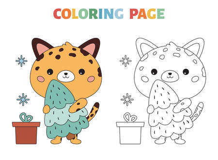 Coloring page for children. Cute cartoon leopard with Christmas tree. Kawaii character. Happy New Year. Black and white outline vector illustration. Illustration