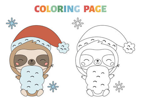 Coloring page with cute sloth in Santa Claus costume. Kawaii cartoon character. Jungle animals. Winter coloring book for children. Happy New Year vector illustration.