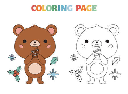 Coloring page with cute bear and Christmas cookie. Cartoon kawaii character. Forest animals. Happy New Year. Vector illustration.
