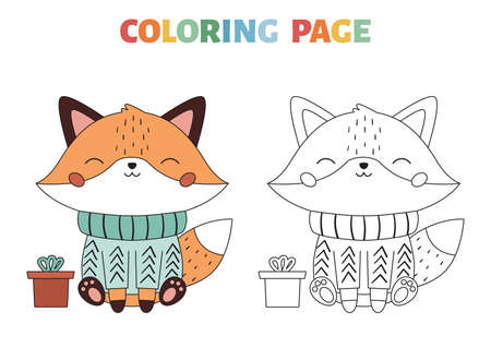 Christmas coloring page with cute fox in the sweater. Cartoon kawaii character. Forest animals. Winter coloring book. Vector illustration.