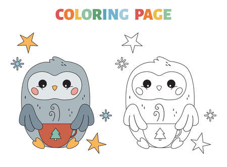 Coloring page for children. Cute cartoon kawaii owl with hot chocolate. Christmas and New Year coloring book. Black and white outline vector illustration. Illustration