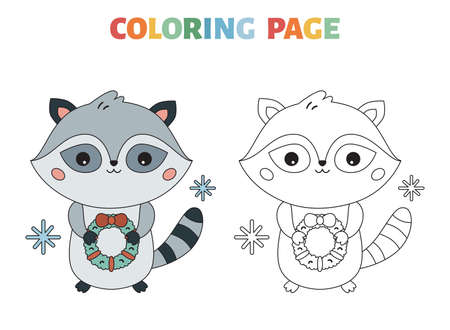 Winter coloring page with cute cartoon raccoon and wreath. Kawaii character. Coloring book with a colored example for children. Black contour silhouette. Happy New Year. Vector illustration. Illustration