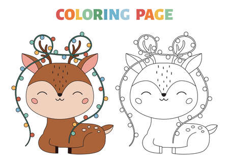 Coloring page with cute deer and Christmas lights. Coloring book for kids with a colored example. Cartoon kawaii character. Black contour silhouette forest animal. Vector illustration.