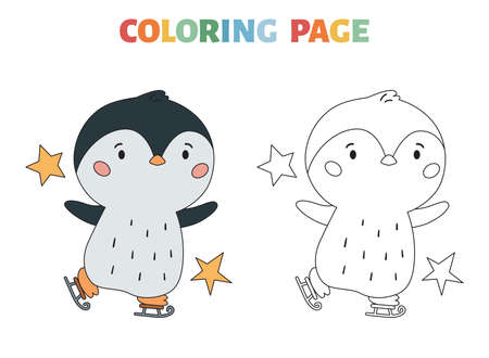 Winter coloring page with penguin and ice skates. Christmas or New Year coloring book with a colored example. Black contour silhouette. Kawaii cartoon animal. Vector illustration. Illustration