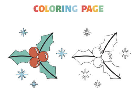 Christmas coloring page with holly berries and leaves. Educational game for children. Black contour silhouette. Vector illustration.
