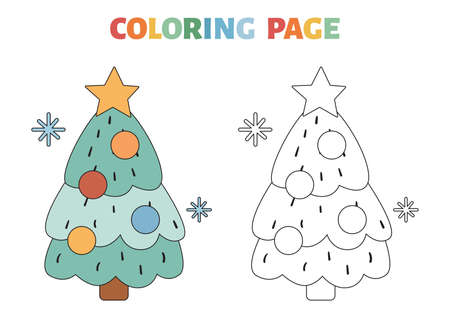 Coloring page with Christmas tree with decorations and star. Black contour silhouette. Educational game for children. Coloring book with a colored example. Vector illustration.