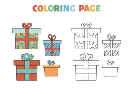 Coloring page with presents boxes. Gifts for Christmas, New Year or Birthday party. Educational game for children. Coloring book with a colored example. Black and white outline vector illustration.