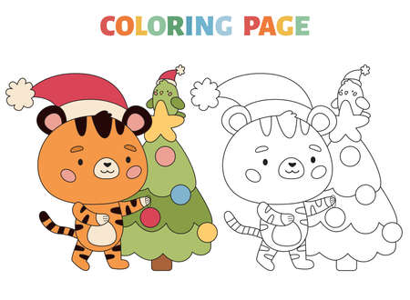 Coloring page with cute tiger, Christmas tree and parrot. Cartoon kawaii character. New Year symbol. Coloring book with colored exemple. Outline vector illustration. Illustration