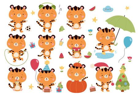 Vector set of kawaii cartoon tigers characters. Cute animals with umbrella, air balloon, birthday cake, presents, Halloween pumpkin, headphones, watermelon and Christmas tree. Funny cats stickers. Illustration