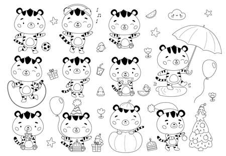 Kawaii set of cute cartoon tigers. Coloring page for children. Wild cats with Christmas tree, Halloween pumpkin, Birthday cake and presents. New Year symbol. Black and white vector illustration. Illustration