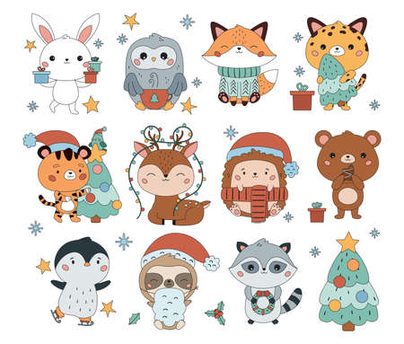 Kawaii set of cute cartoon animals with Christmas tree, hot chocolate, presents, cookies, garland and wreath. Happy New Year. Vector illustration.