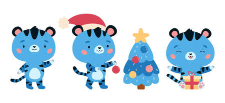 Set of New Year symbol - blue tiger. Kawaii cartoon character. Tigers with Christmas tree and presents. Cute jungle animals. Vector illustration for children.
