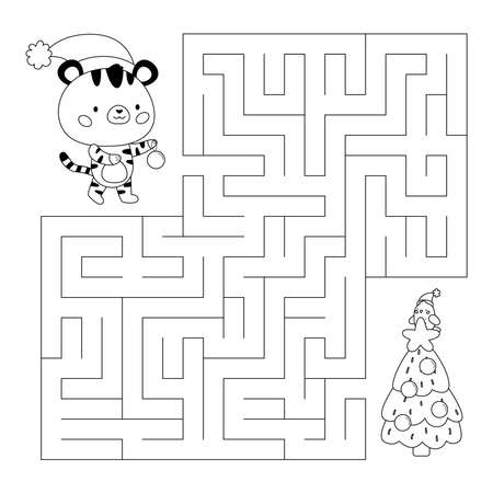 Education maze or labyrinth game for kids. Help the tiger find right way to Christmas tree. Activity worksheet. Happy New Year. Coloring page. Kawaii cartoon character. Vector illustration. Illustration