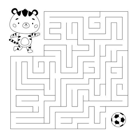 Education maze or labyrinth game for children. Help a tiger find right way to ball. Cat playing soccer. Football coloring page. Cartoon kawaii character. Vector illustration.