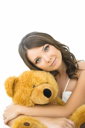 YOUNG WOMAN WITH THE TOY BEAR  photo