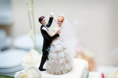 newlyweds: wedding decoration on the cake  Stock Photo