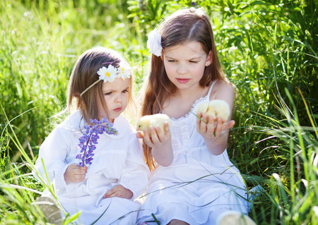 cute sisters outdoors