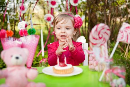 birthday of little girl Stock Photo
