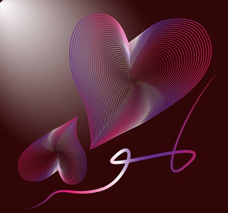 hearts greeting card pink on a dark background, greeting card , symbol of love