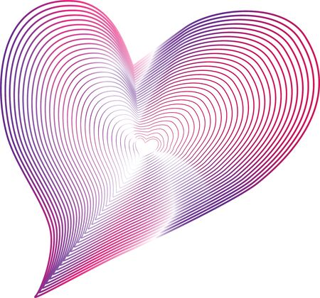 Heart pink abstract line vector , symbol of love  イラスト・ベクター素材