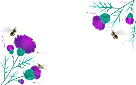 Thistle background greeting card vector image of bees purple and pink Vettoriali
