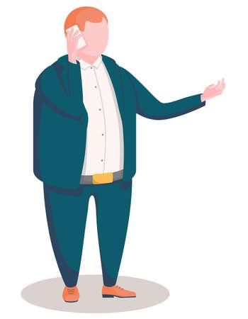 vector illustration of office man on talking phone Ilustrace
