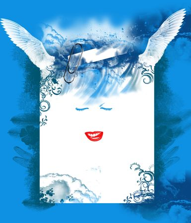 blue background with smile and wings of fairy photo