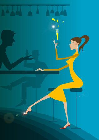 night dress: Girl in the bar, having champagne