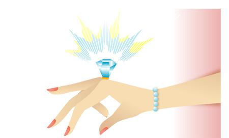 Anillo de compromiso en su mano