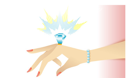 Engagement ring on her hand Illustration