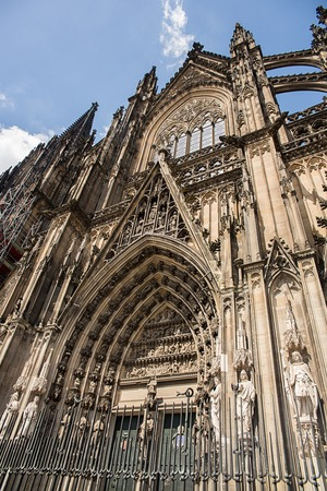 Facade of the Gothic Cathedral above the main door, Cologne, Germany