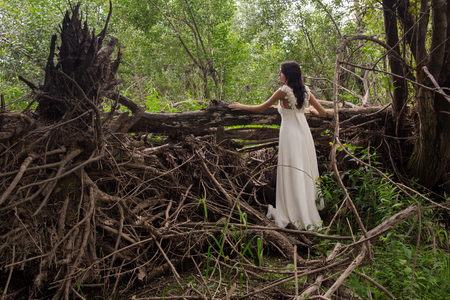 긴 흰 드레스에 걸 레 근처에서 아름 다운 소녀. 젊은 신부 방풍 스톡 콘텐츠