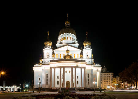 Saransk, Russia - August 25, 2017: View of the Cathedral of St. Theodore Ushakov at night. 에디토리얼