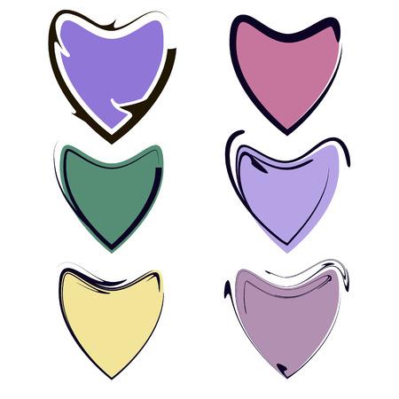 valentijn hart: Valentijn hart vector set, pictogram liefde symbool Stock Illustratie