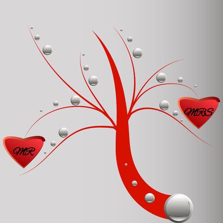 mr: love tree marriage Mr and Mrs Illustration