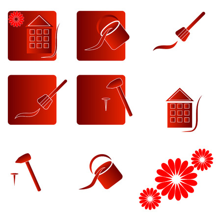 home repair: Home repair logo, elelmenty, symbols Illustration