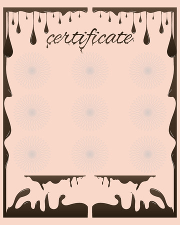 manifest: Vector certificate chocolate template for business document