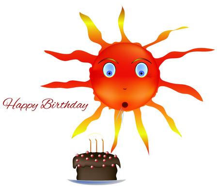blow out: Sun torta di compleanno felice colpo fuori la festa candele