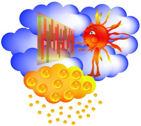 trader: Sun Exchange winning golden rain Illustration