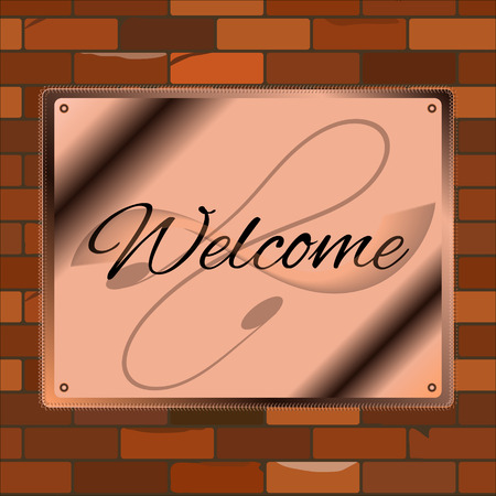 bakstenen muur: Welcome signboard copper brick wall   vintage