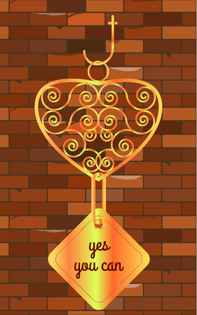 can yes you can: Yes you can signboard goldr brick wall vintage Illustration