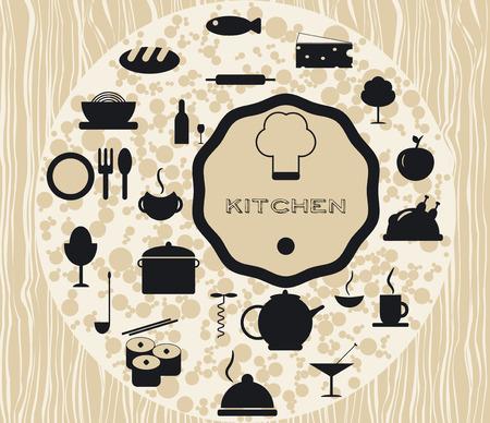 culinair: Stel culinaire keuken iconen bereiden van voedsel koken Stock Illustratie