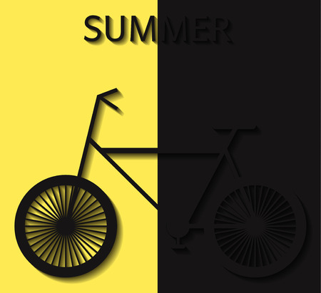 convex: Bicycle summer convex elements yellow design Illustration