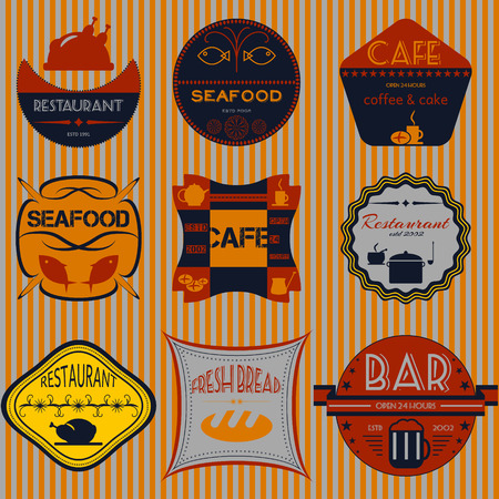 pain frais: Du pain frais, caf�, restaurant situ� badges r�tro cru, rubans et �tiquettes hippie