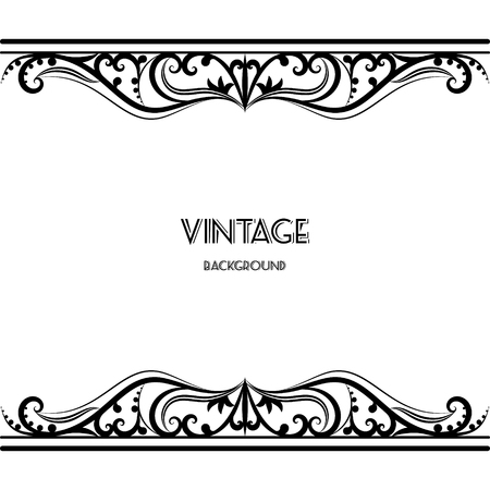 vintage invitation: vintage background frame design black vector retro Illustration
