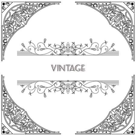 elegant white: vintage background frame design black vector retro Illustration