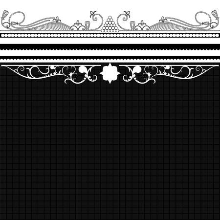 black damask: vintage background frame design black vector retro Illustration