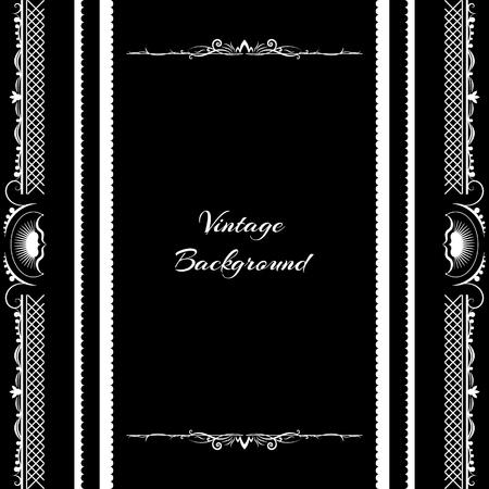 black and silver: vintage background frame design black vector retro Illustration