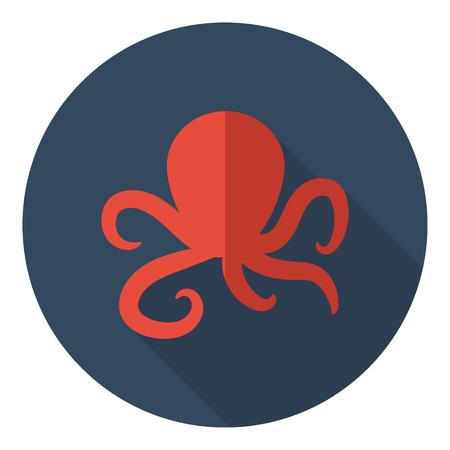 pulpo: pulpo diseño plano del icono del vector sombra Vectores